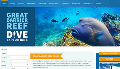 Great Barrier Reef website sample